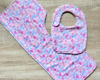 Floral Baby Bib and Burp Cloth set for baby girls