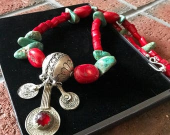 Tagmoute Morrocan berber Antique coins Tuareg Amazigh Tiznit necklace with large Turquoise nuggets and Red Sea bamboo Coral.