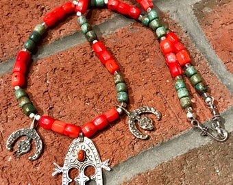 Morrocan Berber Tuareg gate of paradise pendant with vintage turquoise & coral Ethnic African Amazigh necklace.