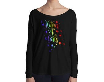 Mother of Girls Mom of girls Mother's day gift shirt gift for mom gift for grandma rainbow women's tshirt stars hearts moon T-Shirt Ladies'