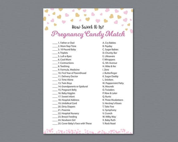 pregnancy candy match game printable how sweet it is girl