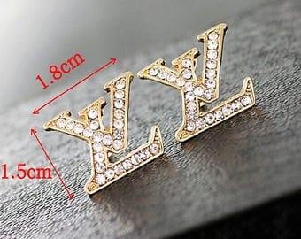 LV Crystal Stud Earrings