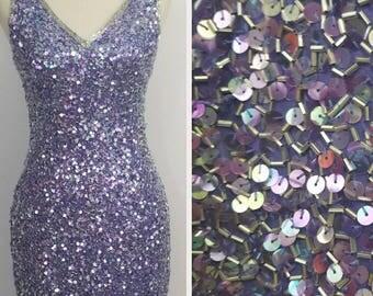 Purple Sequin and Beaded Dress/ Vintage/ Lillie Rubin