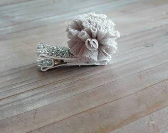 Grey tulle Pompom hair clip Barrette