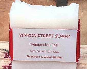 Peppermint Tea Soap (Handmade Soap, Scented with Peppermint and Tea Tree Essential Oils, 100% Coconut Oil Soap, Vegan Soap)