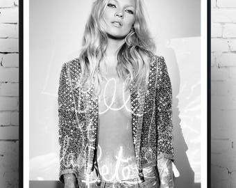 Ultimate Kate Moss Vogue Paris ,Home Décor, Vintage poster, Fashion, Model, Print, Ultimate kate moss,