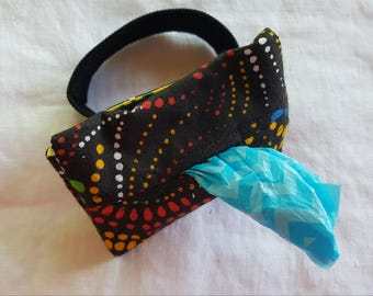 Dog Poop Bag Dispenser - Wrist Wrap - Black with Multi Coloured Dotted Swirls