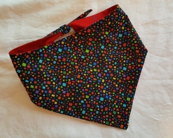 Shaped Tie End Dog Bandana - Reversible Multi-Coloured Rectangles on Black/Red with Sparkly Stars