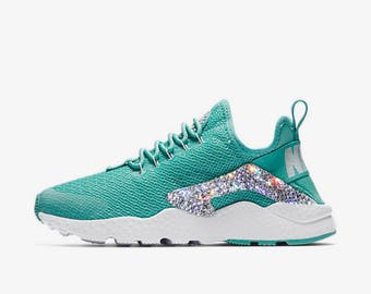 crystal Nike Huarache Ultra Bling Shoes with Swarovski Crystals Women's Running Shoes Washed Teal robins egg blue