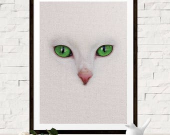 Minimalist White Cat Art - Cat Photo Art Print - Animal Wall Decor - Nursery Animal Art - White Cat - Green Eyes Art - Feline Wall Decor