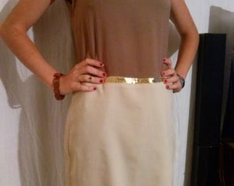 Sleeveless dress two-tone beige to taupe.