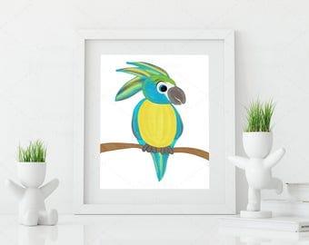 cute Parrot • jungle • animal • digital file • kids room • decoration • printable • nursery wall art • poster • printing • image • present •