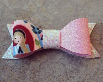 Wonderland Sparkle Felt Hair Bows. Baby Girl Hair Bow. Toddler Hair Bow. Nude Nylon Band or Clip. Set of Three.