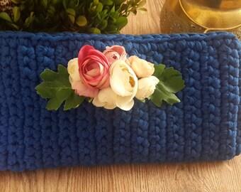 Blue Crochet Clutch