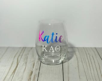 Personalized sorority and fraternity custom wine glass for college greek life perfrct crossover, birthday, graduation and holiday gift