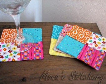 Hand Made Folded Fabric Coasters | Mug Mats | Mug Rugs | Cotton Fabric Coasters - Set of 4