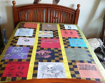 Uneven Layout T-shirt Quilt with 15 t-shirts / Throw or Full Size