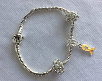 Support for endometriosis bracelet, yellow ribbon, rhinestones.