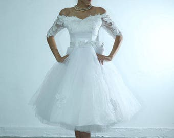 Off shoulder lace and tulle tea length wedding dress with sleeves custom ,any colors