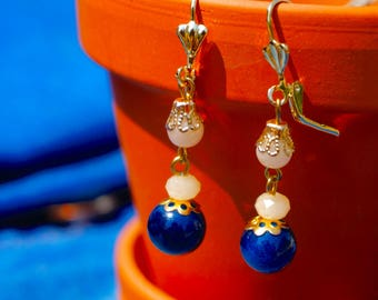 Marine Blue/Cream Earrings
