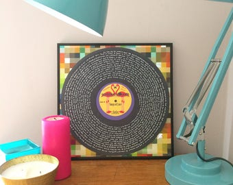 """Songs of Love framed 12"""" music print - vinyl record, handwritten love songs - perfect gift for weddings, anniversaries and anyone you love"""