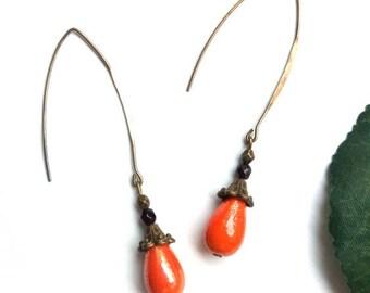 Bronze Pearl drop earrings orange glass ♦ orange Pearl glass drop earrings