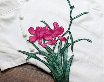 Green and Hot Pink Flowers Patches