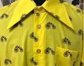 Vintage 1970s Bright Yellow Shirt with Hugs Dagger Collar & Penny Farthing Bicycle Print Button Down Long Sleeve Size XL FREE UK Post