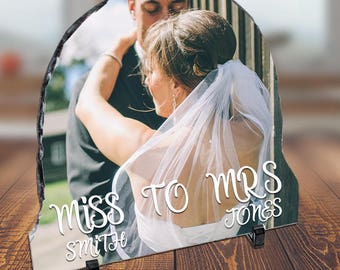 Personalised MISS TO MRS Wedding Slate Picture