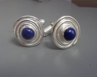 Sterling Silver Cufflinks With Lapis Lazuli Semi-Preciouse Stones. Handcrafted Fair Trade Jewelry.
