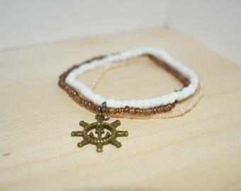 Ship Wheel Multi Beaded Bracelete