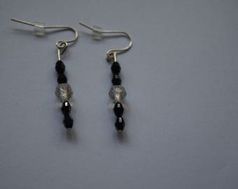 black and clear beaded earrings