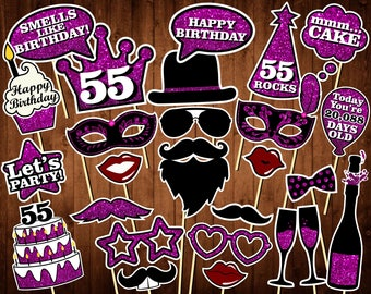 55th Birthday Photo Booth Props - Printable PDF - INSTANT DOWNLOAD - 55th Birthday Party Supplies - Purple Glitter Props