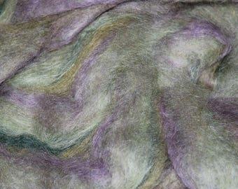 Lavender Leaves exotic mohair / alpaca / wool blended roving, 3oz skeins
