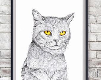Cat Illustration Print - Kitty, Kitten, Pet Portrait, Poster