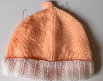 Hand knitted babies beanie
