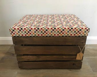 Multicolored Squares - Upholstered Padded Fabric Lid - Wooden Apple Crate - Ottoman/Footstool/Storage