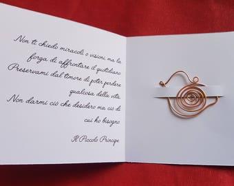 Bookmark bird in copper wire