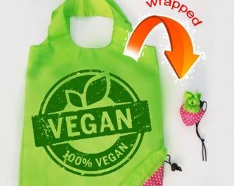 vegan vegetarian market bag reusable bag compact