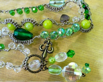 Greenery Crocheted Bead Necklace with Sparkling Glass Crystal Pendant