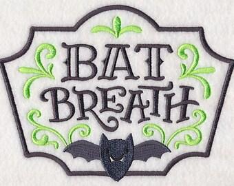 Halloween Apothecary - Bat Breath, Embroidered Halloween Tea Towel, Dish Towel, Halloween Kitchen Decoration, Kitchen Towel