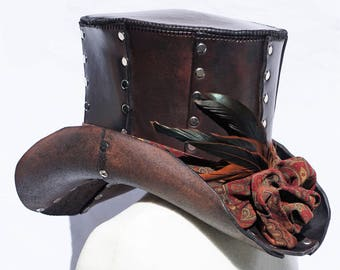 Handmade Leather Steampunk Top Hat