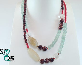 Long necklace of natural gemstone - Agate, Fluorite, Bull Œil, coral