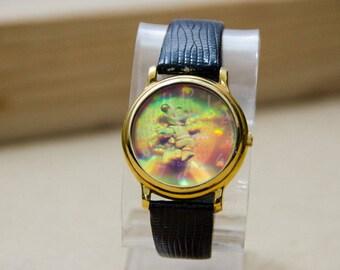 Rare Vintage Disney Fantasma Mickey Mouse Astronaunt Epcot 3D Hologram Watch