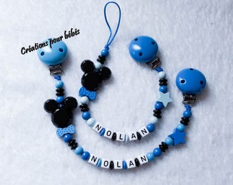 """Duo pacifier clip + binding blanket personalized """"Mickey"""" boy with wooden beads"""