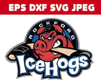 Rockford Icehogs Logo in SVG / Eps / Dxf / Jpg files INSTANT DOWNLOAD!