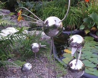 Stainless steel bird - 3er set garden decoration silver from 20,00 EUR