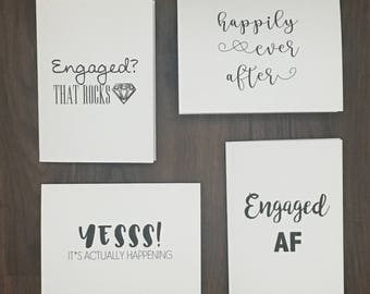 Engagement Edition | Stationary | Greeting Card 4 Pack | Blank Inside