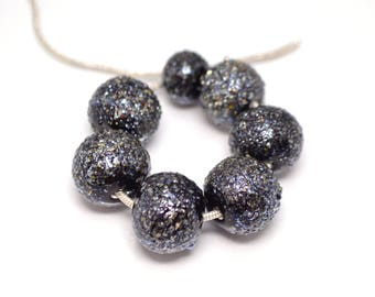 handmade glass lampwork beads black mirror beads murano glass artisan lampwork meteorite jewelry making bracelet black