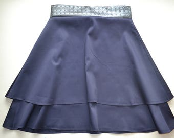 Navy blue layered skirt with silver pleather waistband